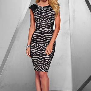 Venus Zebra Printed Dress, Date Night, Fitted